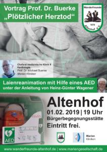 """AED-Schulung und Vortrag Prof. Dr. Buerke """"Plötzlicher Herztod"""" @ Bürgerbegegnungsstätte Altenhof"""
